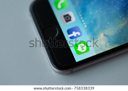Bangkok, Thailand - November 19, 2017: Line applications display on iPhone 6. It is a popular chatting app in Asia. #758338339