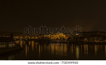 View in autumn night Prague near Vltava cold river #758344960
