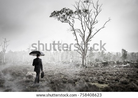 Man in foggy forest. Mixed media #758408623