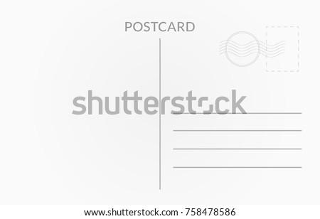 Travel card design. Vector white postcard illustration Royalty-Free Stock Photo #758478586