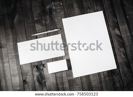 Corporate stationery set. Blank branding identity template on wood background. Top view. #758503123
