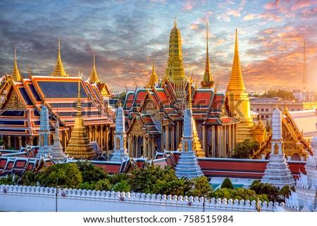 Grand palace and Wat phra keaw at sunset at Bangkok, Thailand Royalty-Free Stock Photo #758515984
