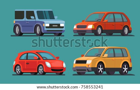 Car vector template on gray background. Flat style
