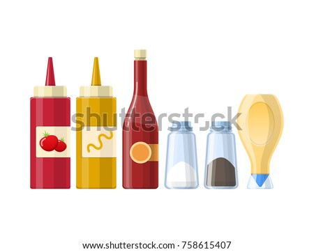 Set of sauces, spices, condiments ketchup, mustard, salt, black pepper, mayonnaise, butter, in beautiful realistic bottles, packages. Condiments and sauces for kitchen cooking Vector illustration Royalty-Free Stock Photo #758615407
