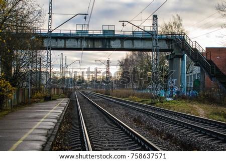 Riga, Latvia - November 13 2017: Railway station in industrial district #758637571