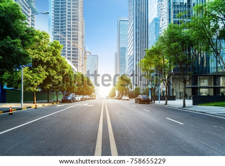 empty highway with cityscape of chongqing,China #758655229
