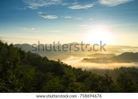 The Morning Mist at Sukothai in Thailand #758694676