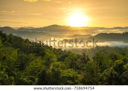 The Morning Mist at Sukothai in Thailand #758694754
