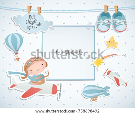 Holiday card design with balloon and plane. Baby shower. Paper, scrapbook. Royalty-Free Stock Photo #758698492