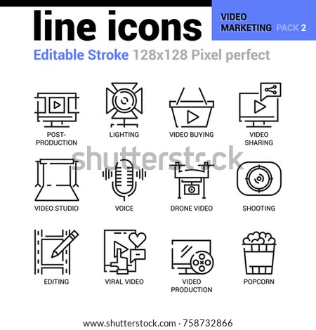 Video Marketing line icons - Editable Stroke, Pixel perfect thin line vector icons for web design and website application. Suitable for print, symbols, apps, infographics.