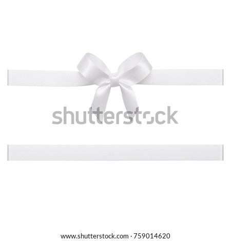 White bow tied using silk ribbon, cut out top view #759014620