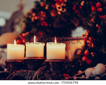 christmas eve attribute wreath home coziness concept. candles light. comfort lifestyle #759046798