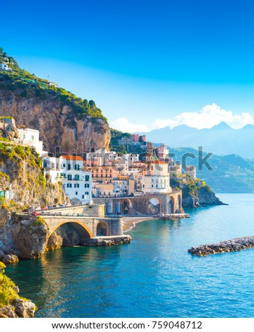 Morning view of Amalfi cityscape on coast line of mediterranean sea, Italy #759048712
