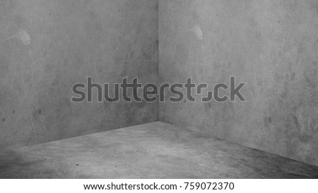 Empty corner room with grey concrete wall and floor background,Mock up studio room for display or montage of product for advertising on media,Business presentation. Royalty-Free Stock Photo #759072370