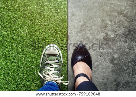 Life Balance concept for Work and Travel present in Top view position by half of Business Working Woman and Sneaker Shoes Royalty-Free Stock Photo #759109048