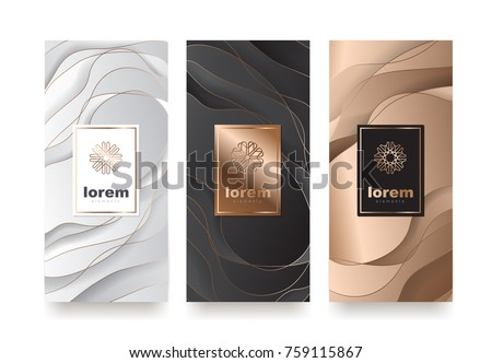 Vector set packaging templates with different texture for luxury products.logo design with trendy linear style.vector illustration Royalty-Free Stock Photo #759115867