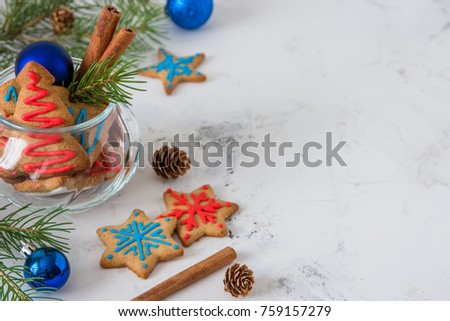 Cookies for christmas theme. New year and christmas card, space for your text. #759157279