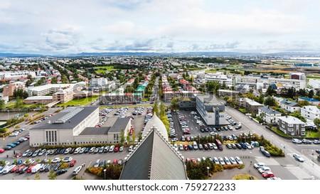 travel to Iceland - aerial view of Eiriksgata and Leifsgata streets in Reykjavik city from Hallgrimskirkja church in autumn #759272233