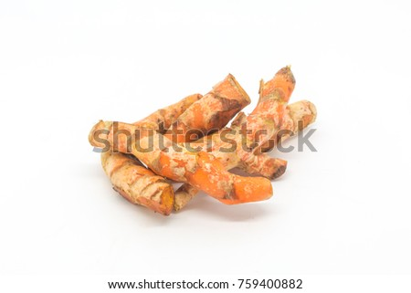 Fresh Turmeric against a White Background #759400882