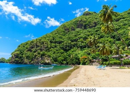 Paradise beach at Soufriere Bay with view to Piton at small town Soufriere in Saint Lucia, Tropical Caribbean Island. #759448690