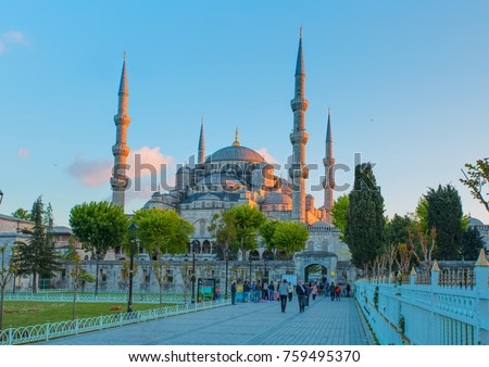 ISTANBUL, TURKEY - MAY 06, 2014: The Blue Mosque, (Sultanahmet Camii), Istanbul, Turkey.  Visitors travel visit ancient istambul (sultanahmet square) blue mosque #759495370
