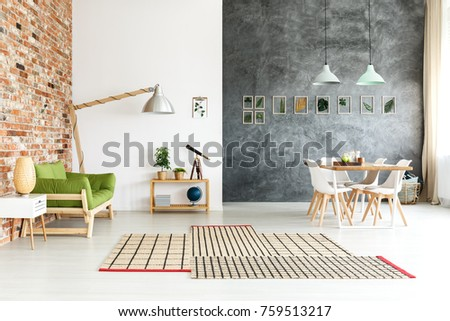 Different types of wall texture in minimal interior design of open space loft with wooden furniture and plants #759513217