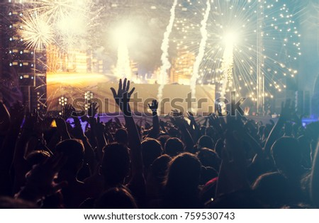 Fireworks at New Year and copy space - abstract holiday background #759530743