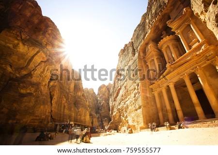 The Treasury (Al Khazneh) of Petra Ancient City with Golden Sun, Jordan #759555577