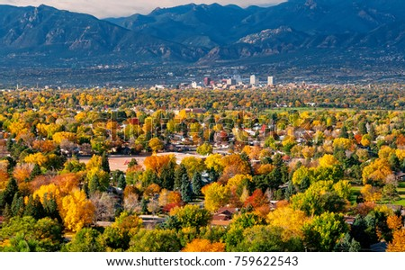 Downtown Colorado Springs as seen from Grandview Lookout in Palmer Park #759622543