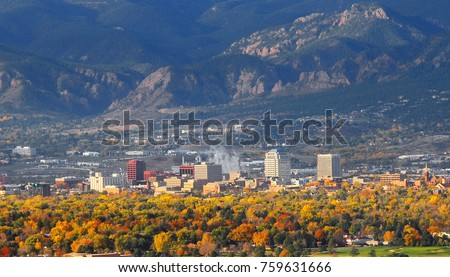 Colorado Springs Downtown as seen from Grandview Lookout in Palmer Park 2 #759631666