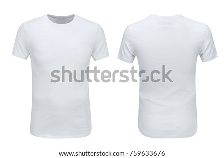 Front and back views of white t-shirt on white background with paths #759633676