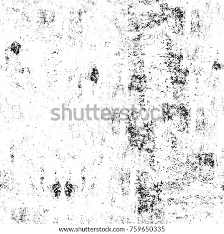 Grunge black and white pattern. Monochrome particles abstract texture. Background of cracks, scuffs, chips, stains, ink spots, lines. Dark design background surface. Gray printing element #759650335