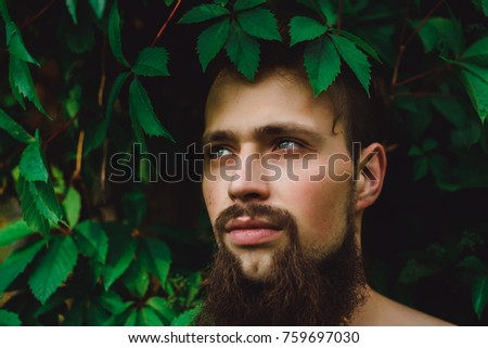 portrait of a handsome man on green summer leaves. Fashion Brunette man with blue eyes, Portrait in wild leaves (grapes), natural background. #759697030
