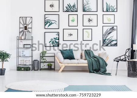 Bright wooden sofa with green cushion and blanket standing under posters in living room with plants #759723229