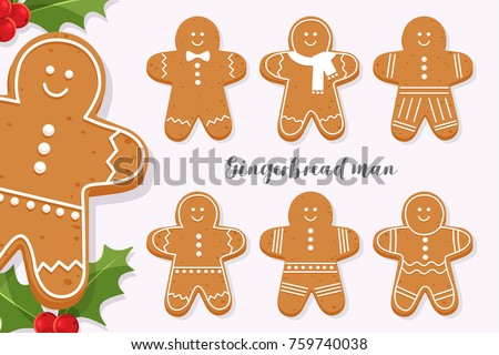 Set of smiling gingerbread man. Holiday sweet cookie isolated on light background. Symbol of Merry Christmas and Happy New Year. Cartoon vector illustration. #759740038