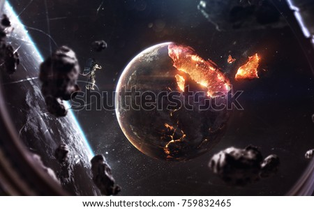 Planet explosion. Apocalypse in space, destroying cosmic object. Elements of this image furnished by NASA Royalty-Free Stock Photo #759832465