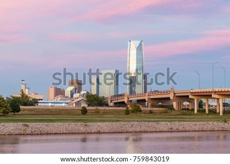 Skyline of Oklahoma City, OK during sunset