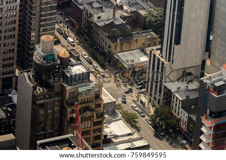 NEW YORK, USA - SEP 17, 2017: Beautiful view of Manhattan from above, New York, NY, United States of Americs #759849595