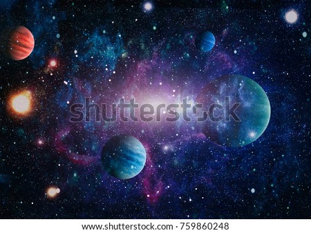 planets, stars and galaxies in outer space showing the beauty of space exploration. Elements furnished by NASA . #759860248