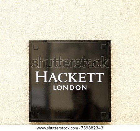 Ingolstadt, Germany, AUG 19, 2017: A Hackett clothing outlet. Hackett opened its first shop in London in 1983 #759882343