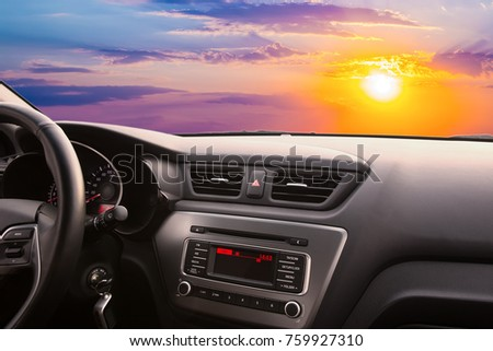 sunset from the interior of a modern car #759927310