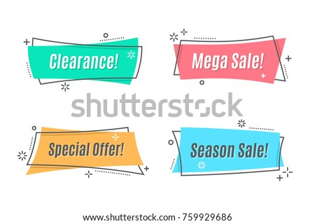 Flat linear promotion ribbon banner, scroll, price tag, sticker, badge, poster. Vector illustration Royalty-Free Stock Photo #759929686