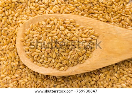 Linum usitatissimum is scientific name of Golden Flax seed. Also known as Linseed, Flaxseed and Common Flax. Grains in wooden spoon. Close up. #759930847