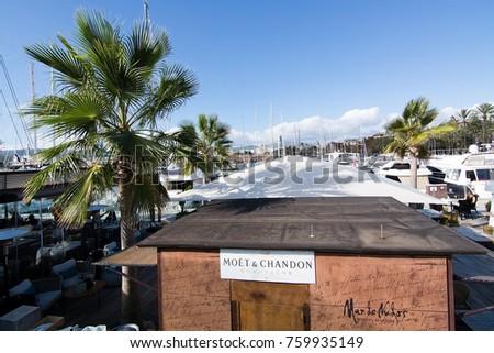 MALLORCA, BALEARIC ISLANDS, SPAIN - NOVEMBER 8 2017: Mar de Nudos restaurant in Palma port Moll Vell on a sunny day on November 8, 2017 in Mallorca, Balearic islands, Spain. #759935149