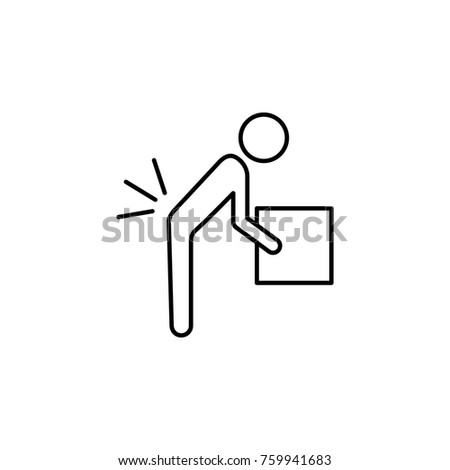 Person lifting a heavy object line icon. Insurance outline icon on whte background