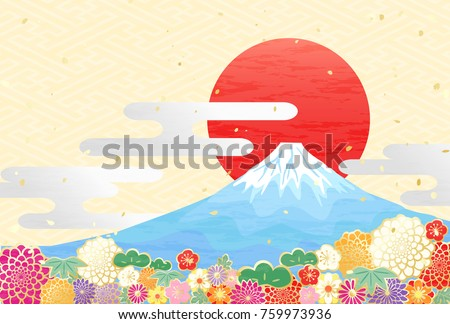 Background to celebrate New Year of Japan's beautiful mountain Mt. Fuji