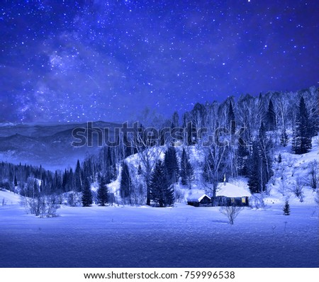 Small wooden house  in a night winter mountain landscape with a beautiful starry sky- Christmas background #759996538