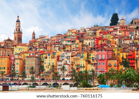 View on old part of Menton, Provence-Alpes-Cote d'Azur,  France. Royalty-Free Stock Photo #760116175