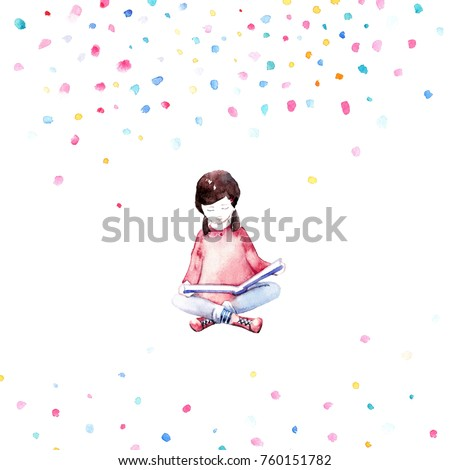 Illustration reading girl. Silhouette of young girl in watercolor style on a bright background.