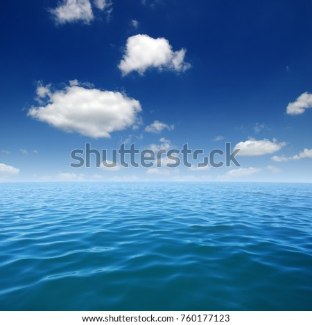 Blue sea water surface on sky #760177123